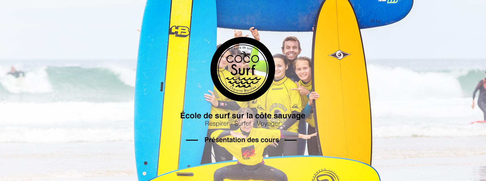 Slide présentation des cours Coco Surf