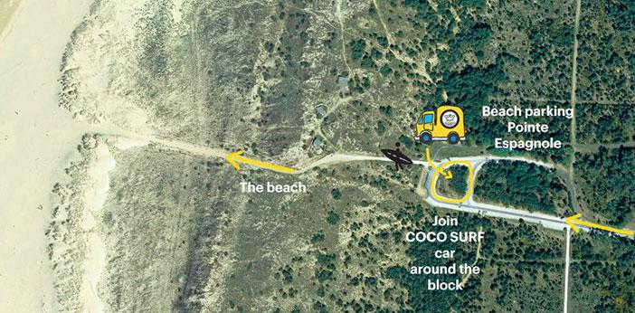 Carte accès Camion Coco Surf école de surf