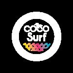 Logo coco surf école de surf blanc