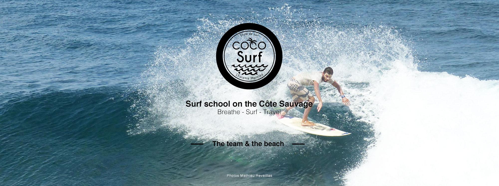 moniteur de surf de l'école coco surf